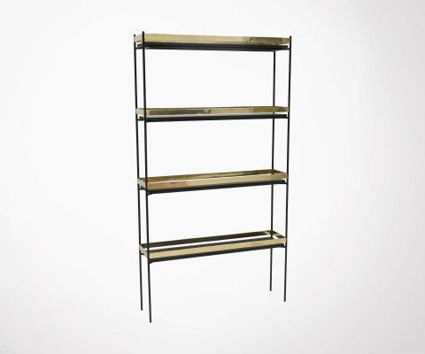 Black iron shelf 138cm gold brass finish CEPTINE - HK Living