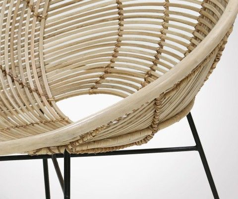 Chaise lounge rotin naturel métal noir BALDA - HK Living