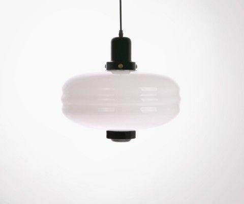 Lampe suspendue rétro verre blanc 24cm WYTY - HK Living