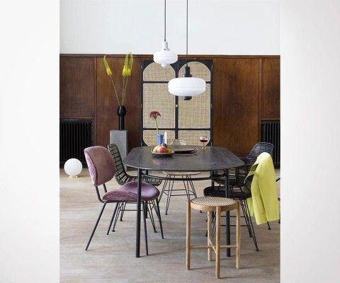 Table à manger ovale 200cm bois NOIRE - HK Living