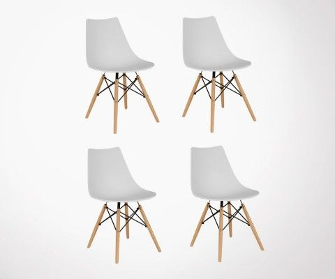 Set of 4 DIVA scandinave wooden base chairs