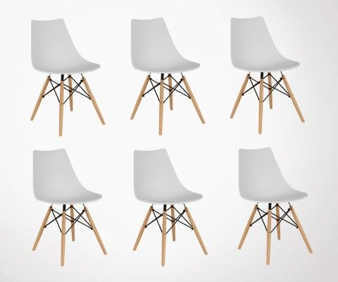 Set of 6 DIVA scandinave wooden base chairs