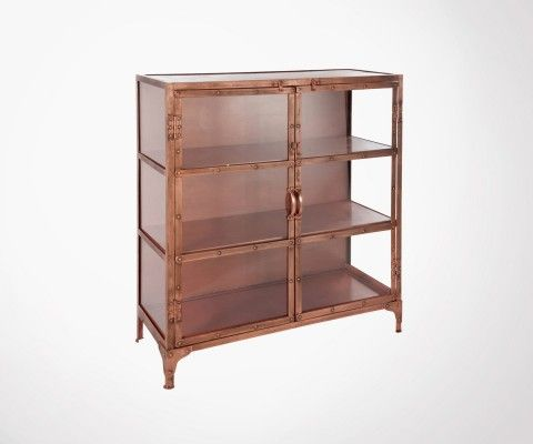 Showcase 3 floors 100cm glass and copper metal LOBFA