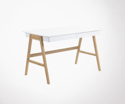 Modern desk 120cm wood natural white oak DYANA