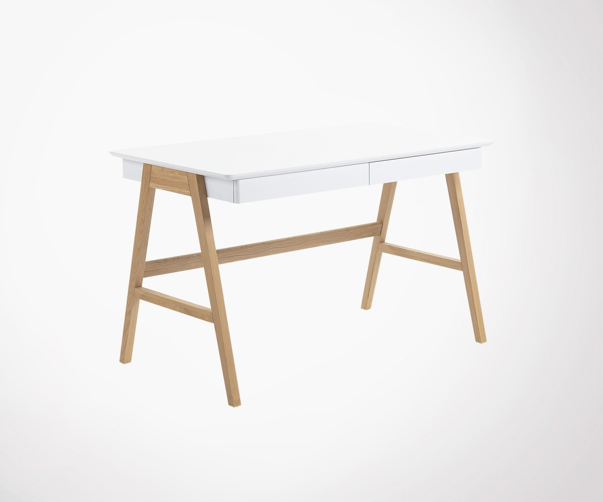 Modern design desk 120cm natural and white oak wood fast eu ship
