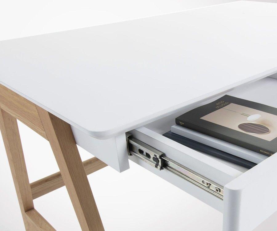 Bureau moderne 120 cm bois de chêne blanc naturel tendances déco