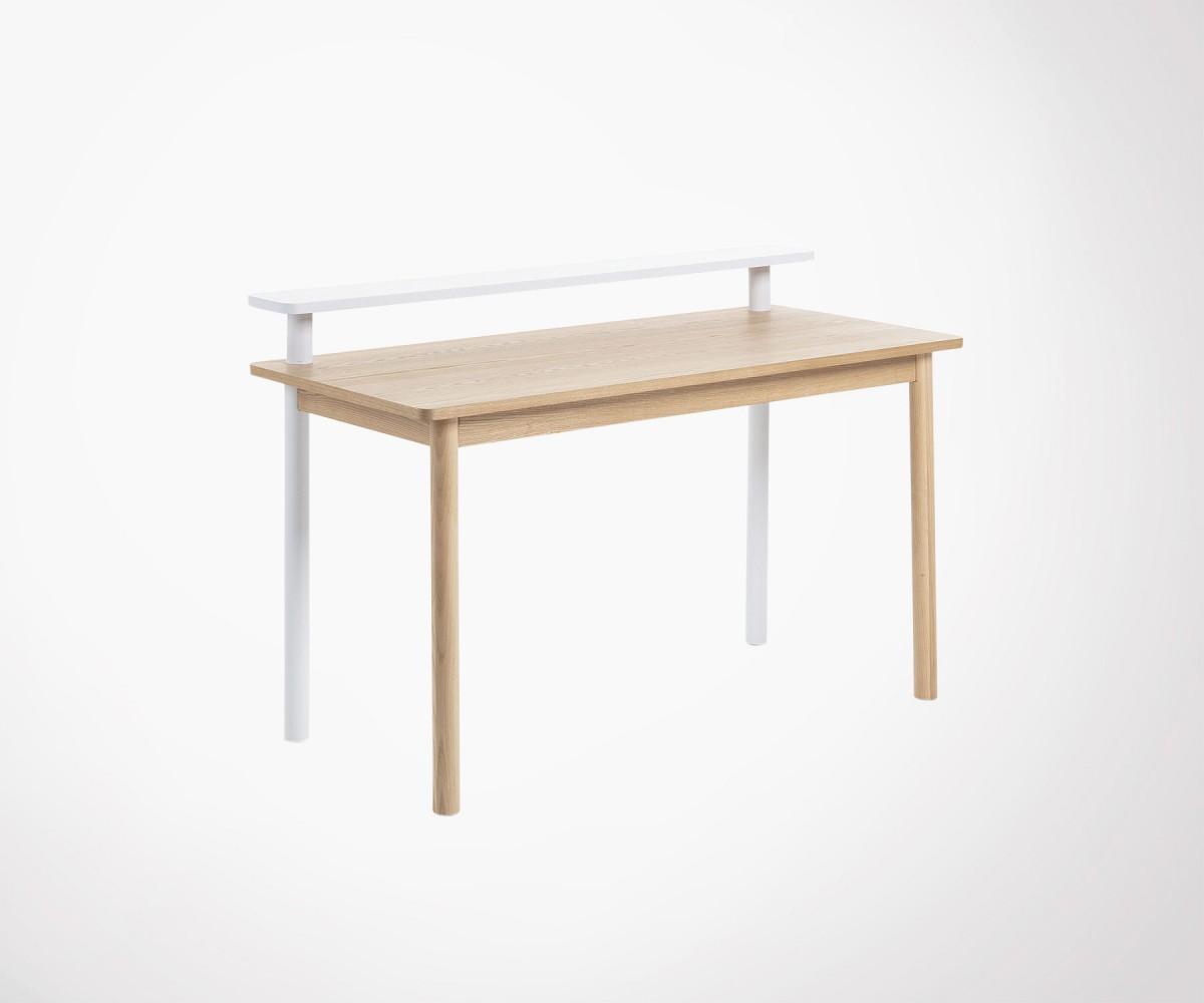 Bureau design style scandinave bois de frêne naturel et blanc cm