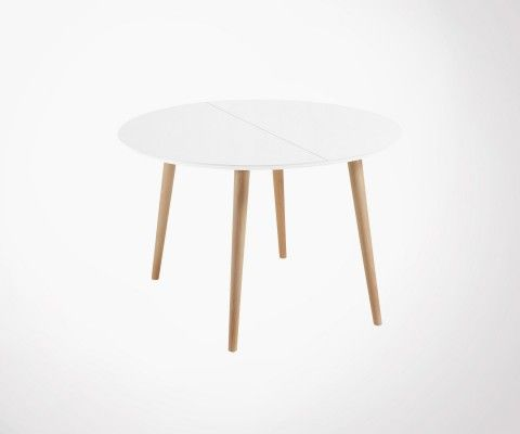 Extendable design round table 120-200cm wood KIOKY