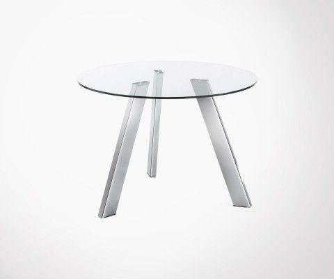 Table à manger ronde 110cm plateau verre pieds chromé CARIB