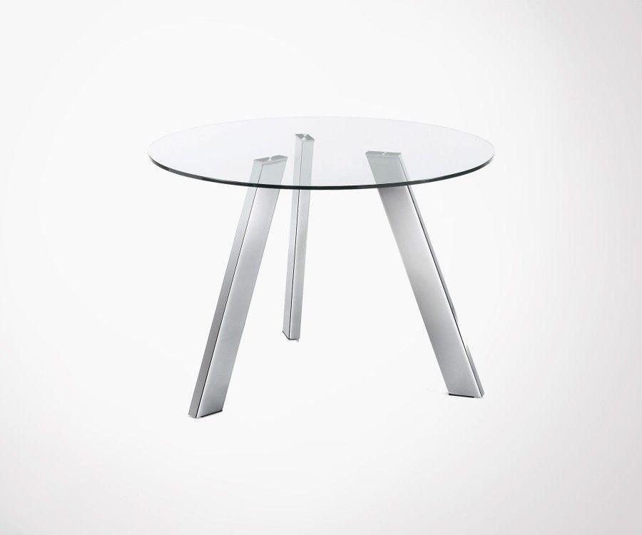 Table à manger ronde 110cm plateau verre pied chromé CARIB