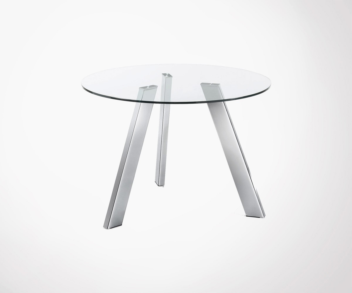 Round Dining Table 110cm Glass Top Chromed Feet New Design
