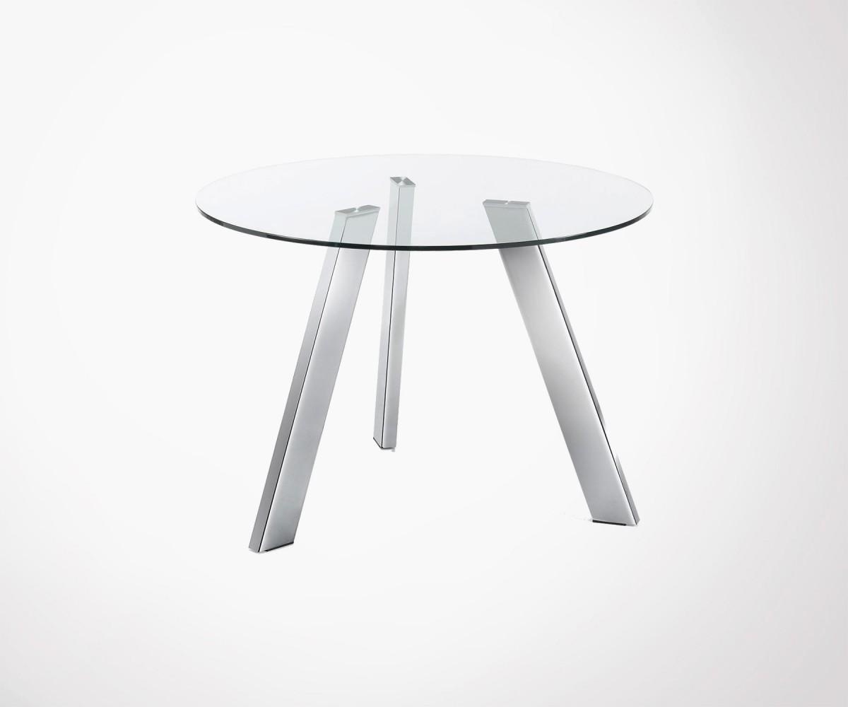 table manger ronde 110cm plateau verre pied chrom. Black Bedroom Furniture Sets. Home Design Ideas