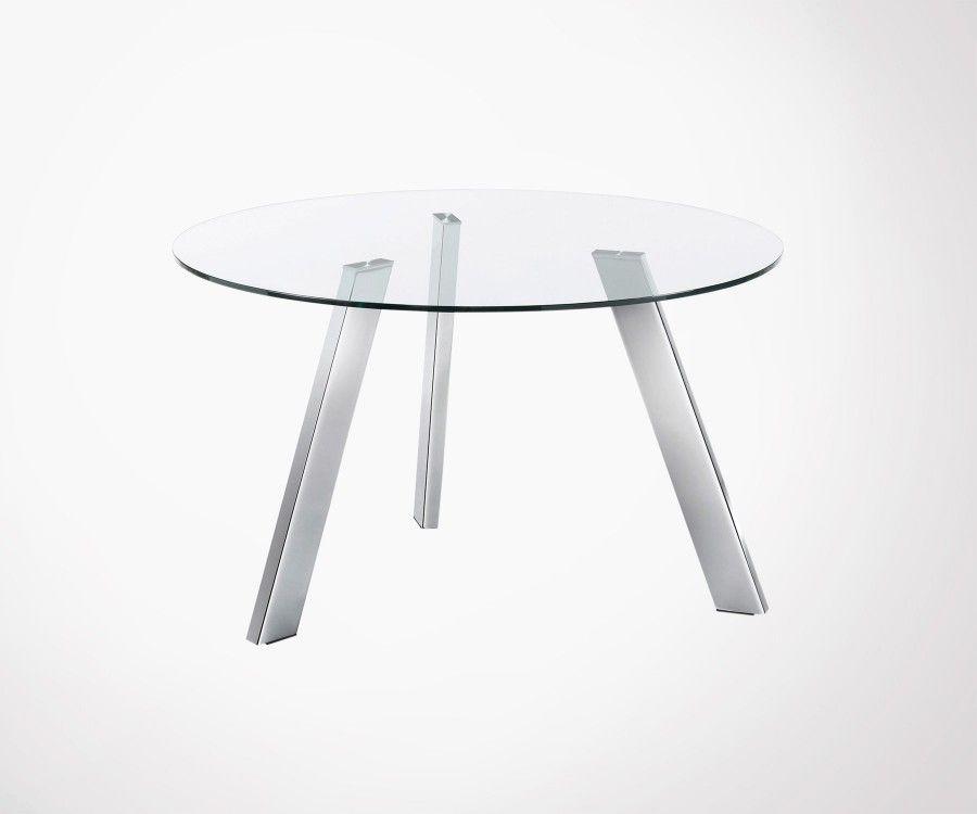 Table ronde 130cm plateau verre pied chromé CARIB