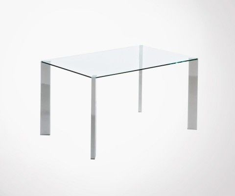 Dining table 140x90cm glass top chrome base SPOT