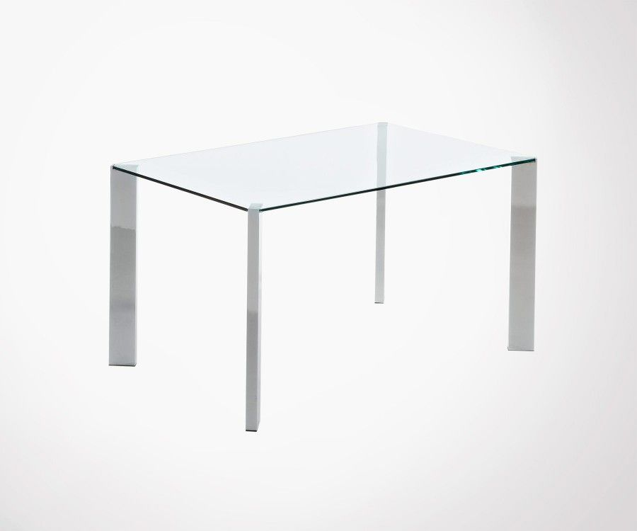 Table A Manger 140x90cm Plateau En Verre Transparent Et Pieds Chromes