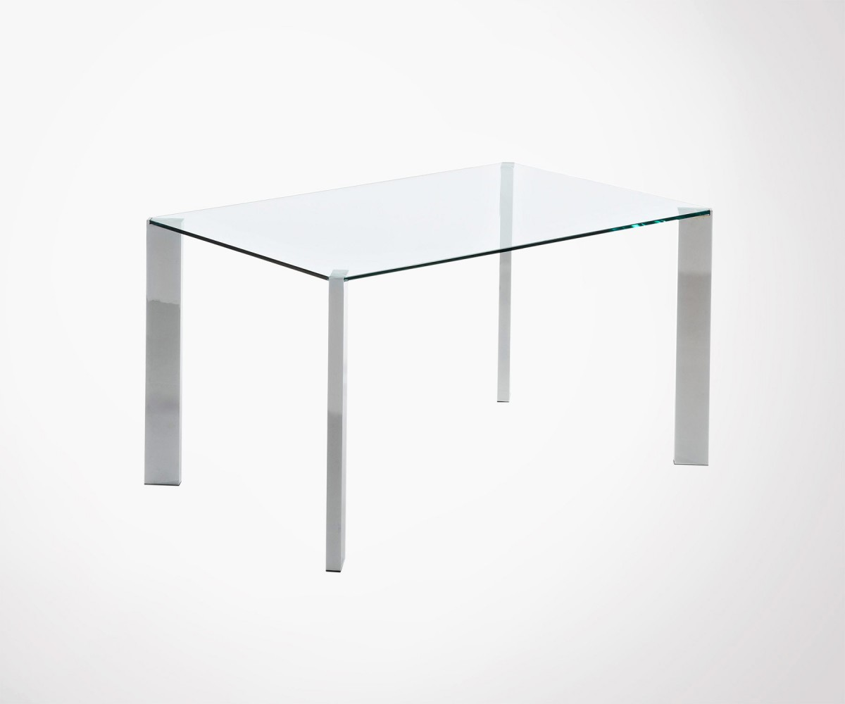 table manger 140x90cm plateau en verre transparent et pieds chrom s. Black Bedroom Furniture Sets. Home Design Ideas