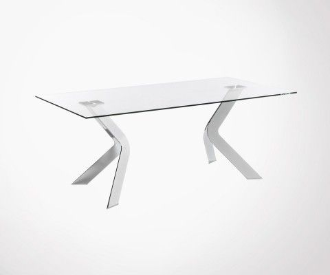 Glass table 200cm chromed steel base WESTWORP