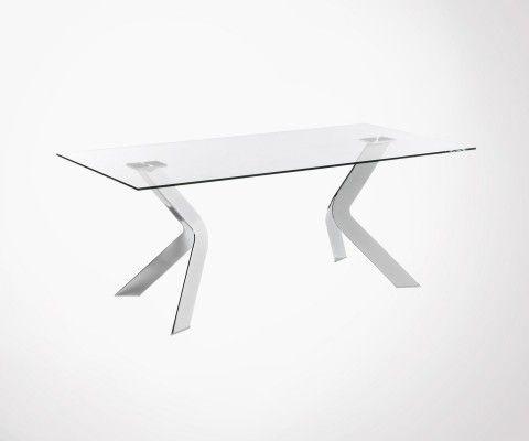 Table verre 200cm pied acier chromé WESTWORP