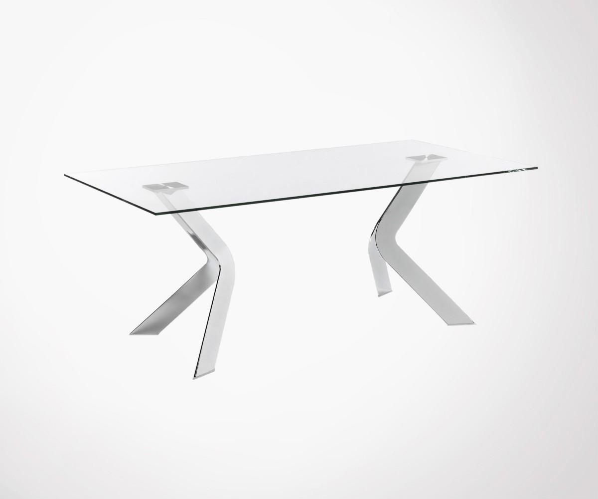 Table Verre 200cm Pied Acier Chrome Westworp