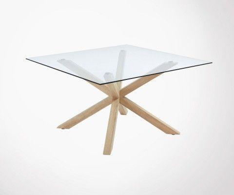 Grande table carrée 149cm plateau verre AZPERO