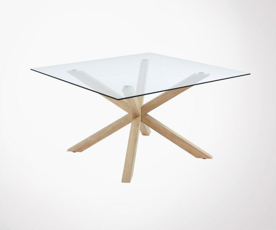Grande table carré 149cm plateau verre AZPERO