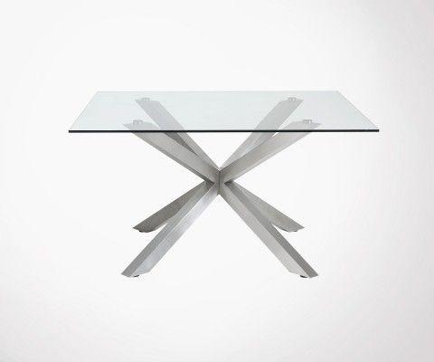 Table à manger carré 149cm plateau verre AZPERLO