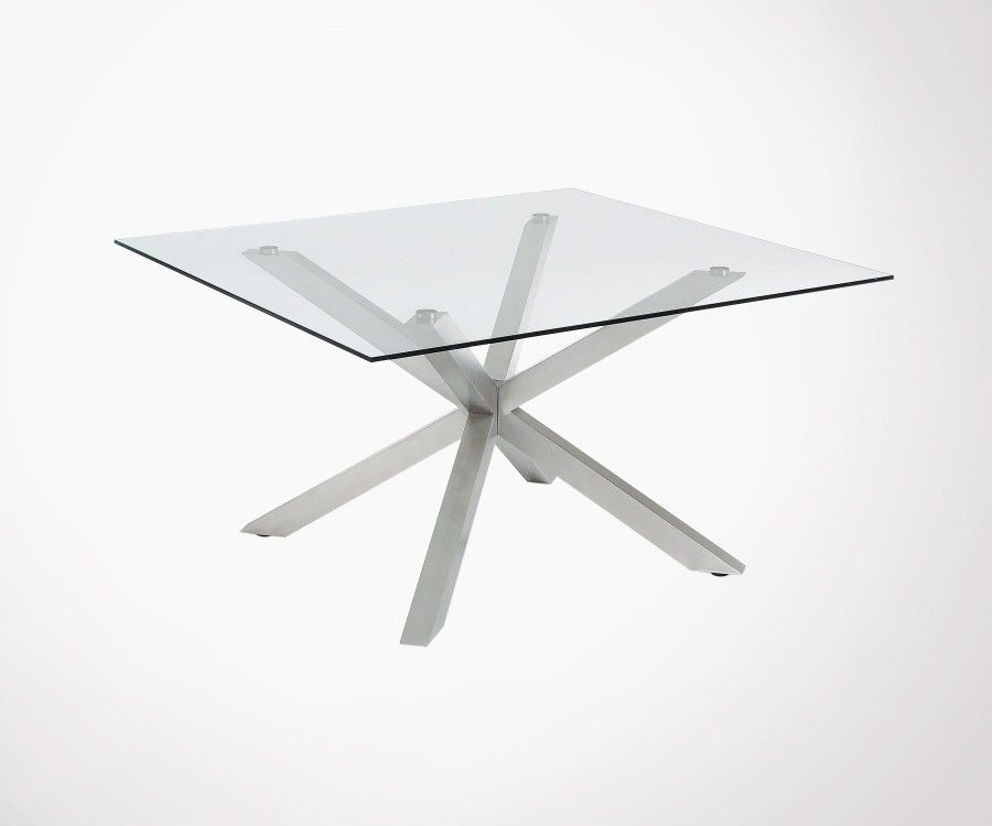 Table à manger carré 149cm plateau verre AZPERLO