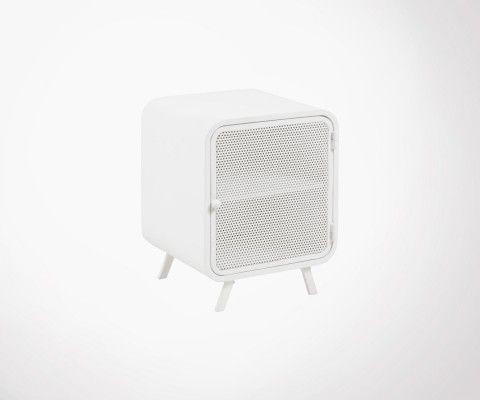 Table de chevet métallique blanc porte grillage TARIK