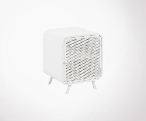 TARIK wire mesh white metal bedside table