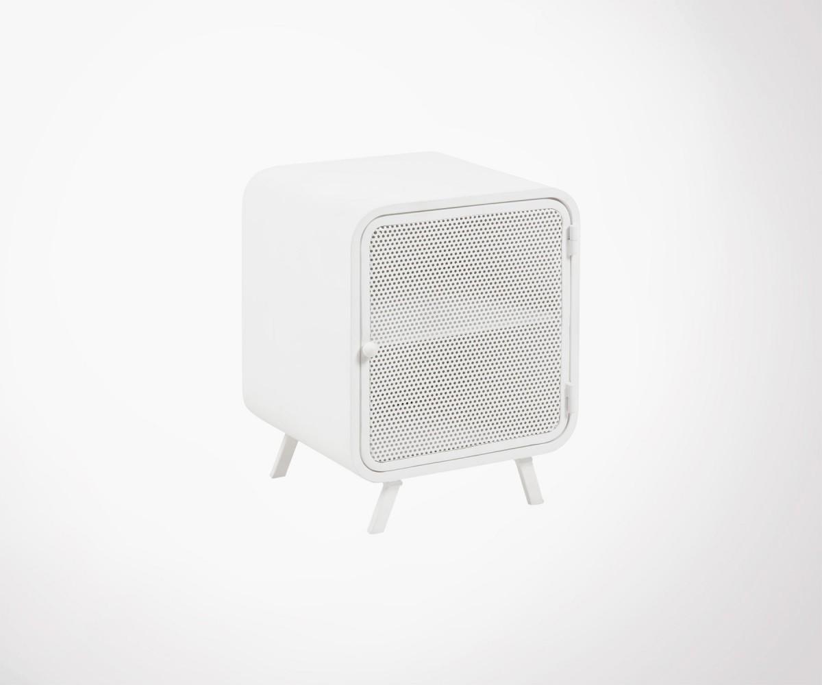 Table de chevet metal blanche design avec porte grillage - Table de chevet blanche design ...