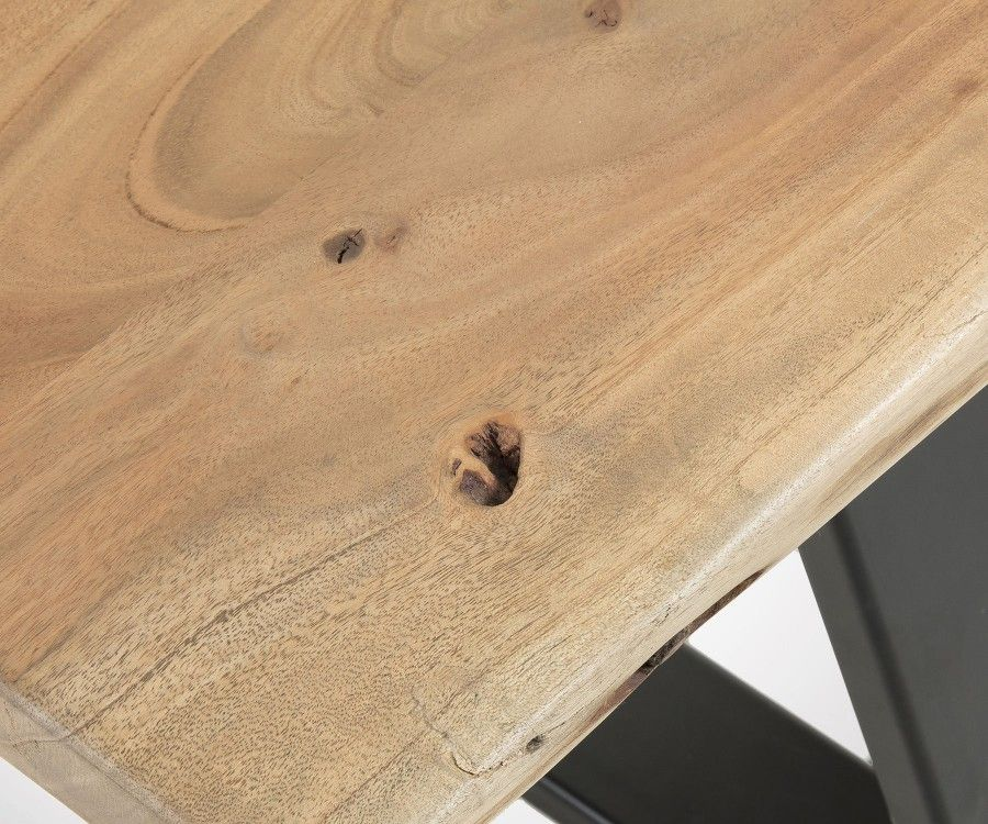 Banc noir BANCO acacia naturel