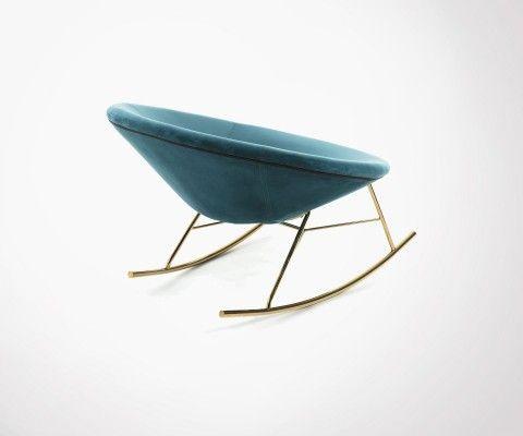 Chaise à bascule doré MANE tissu vert