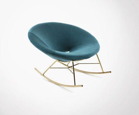Chaise à bascule métal doré MANE tissu vert