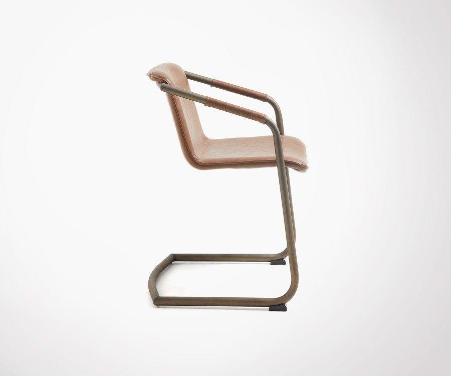 Chaise bras TRYA métal patiné