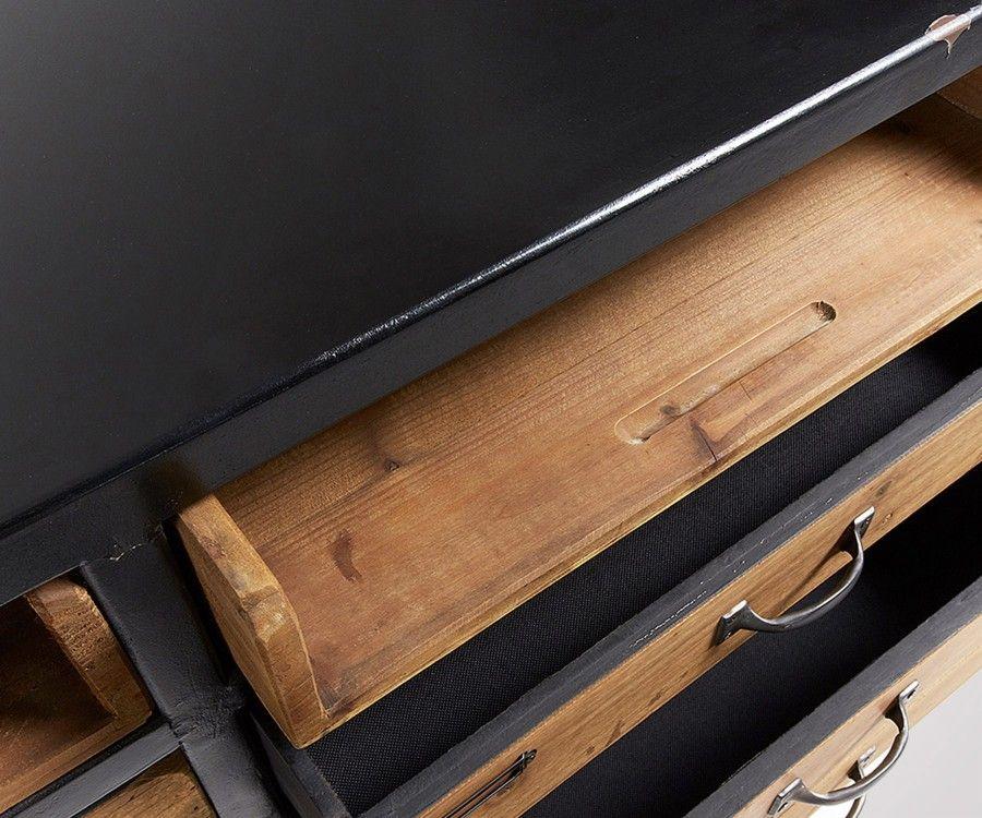 Buffet 155x85 bois noir naturel JOEY