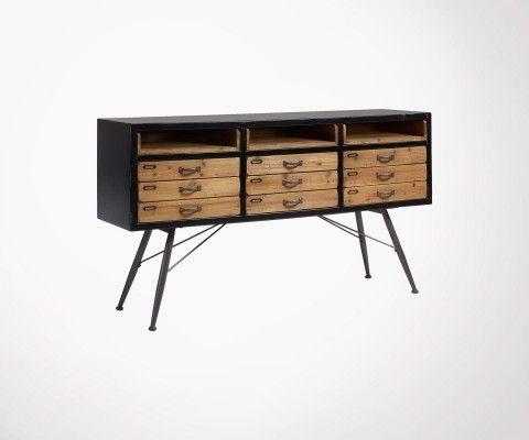 Buffet vintage 9 tiroirs 155cm bois métal JOEY