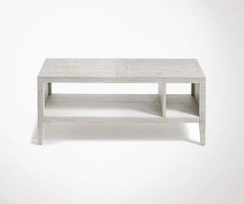 Table basse 110x45 bois sapin blanc patine