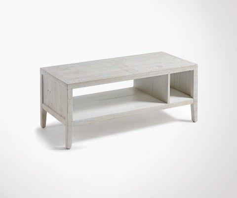 Table basse 110x45cm bois sapin blanc ELIE