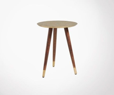 Wood and brass side table RIZZ