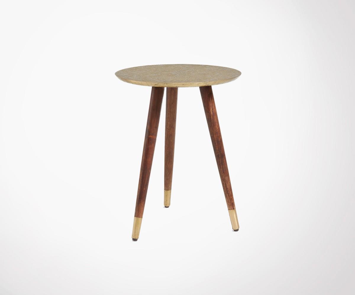 Table d 39 appoint 40cm laiton et bois style vintage et boh me - Table d appoint malm ...