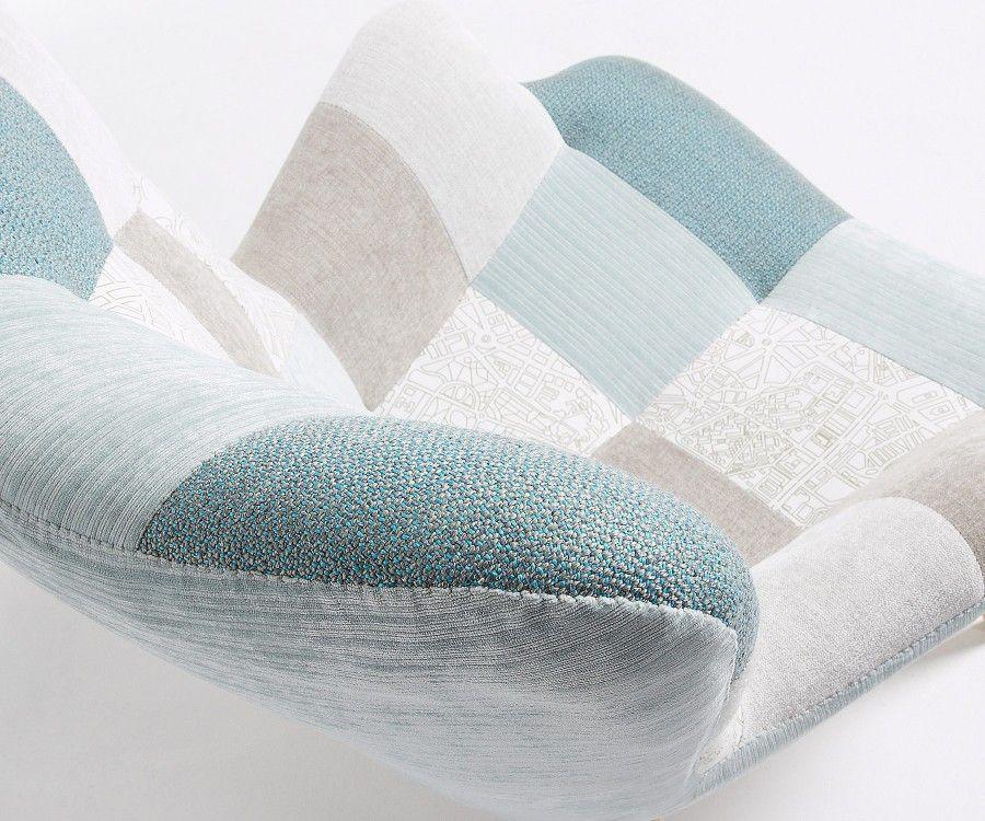 Fauteuil bois naturel tissu patchwork DESSINE