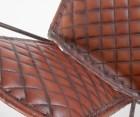 Fauteuil métal cuir marron ROYAUME