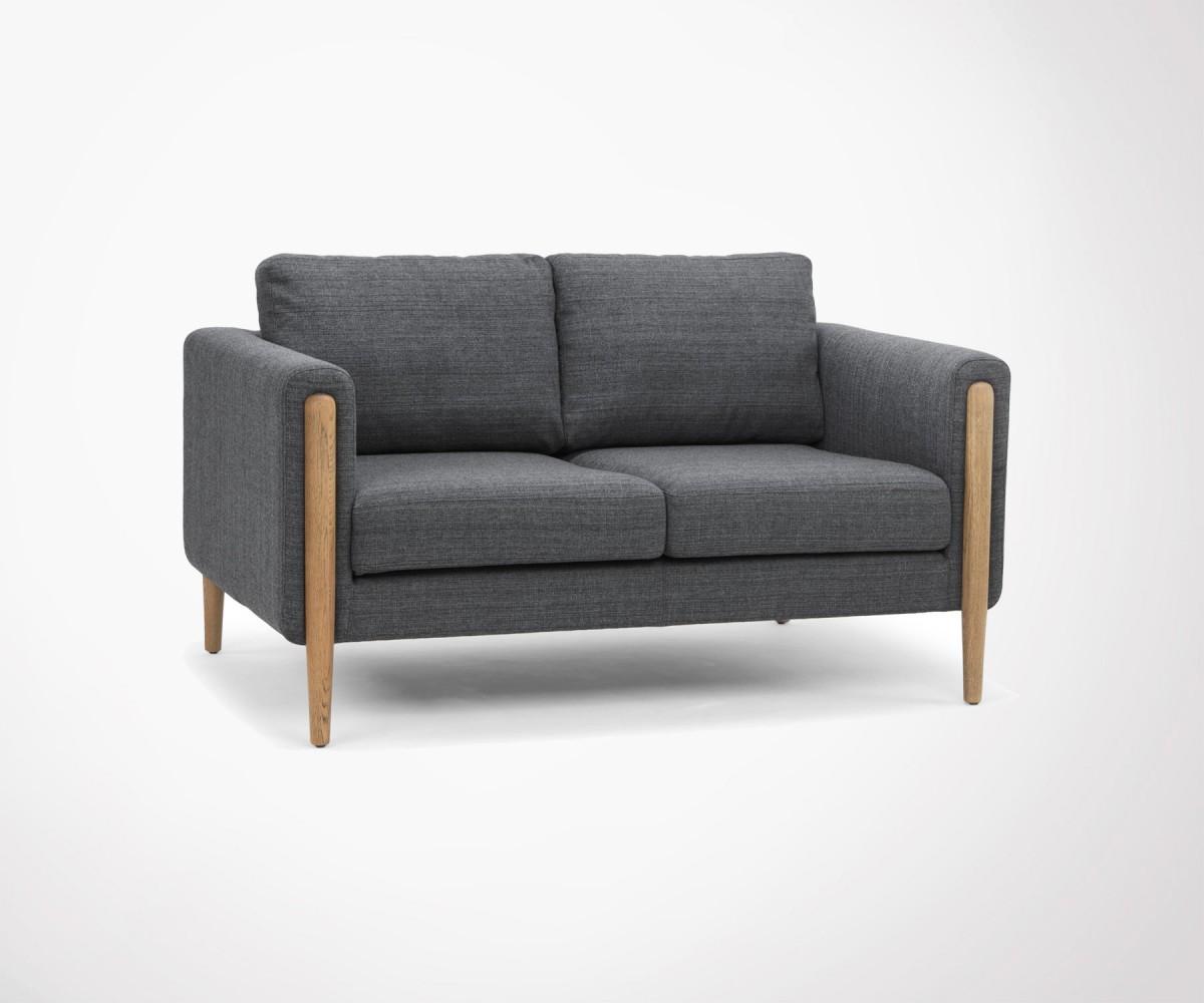 canapé design tissu gris accoudoirs bois - 2 places - design exclusif