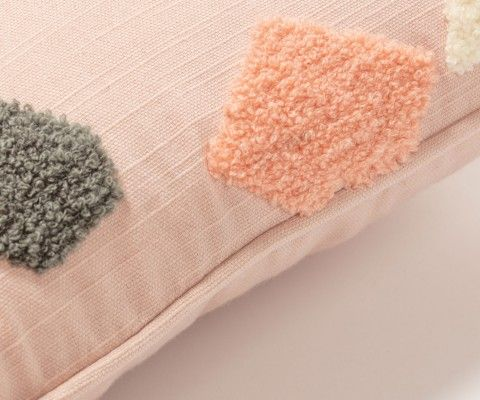 Petite housse de coussin 30x50cm tissu rose REXA