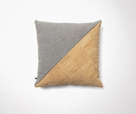 Housse de coussin tissu gris et liège clair BARBAD