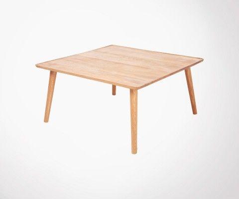 Grande table basse carré 80cm chêne massif huilé VERCUR