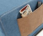Chauffeuse lit compacte tissu gris SOCRATE - 70cm