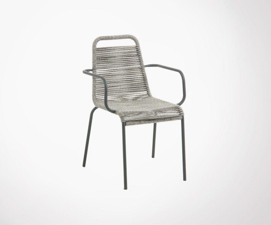 Chaise de jardin en corde avec accoudoirs POKO