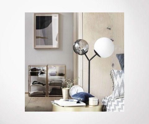 Lampe design métal noir et verre TWICE - House Doctor