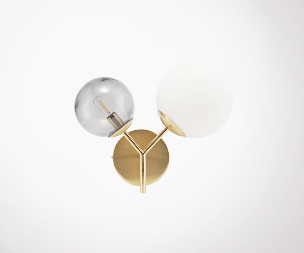 Brass and glass wall light house doctor twice cm retro design